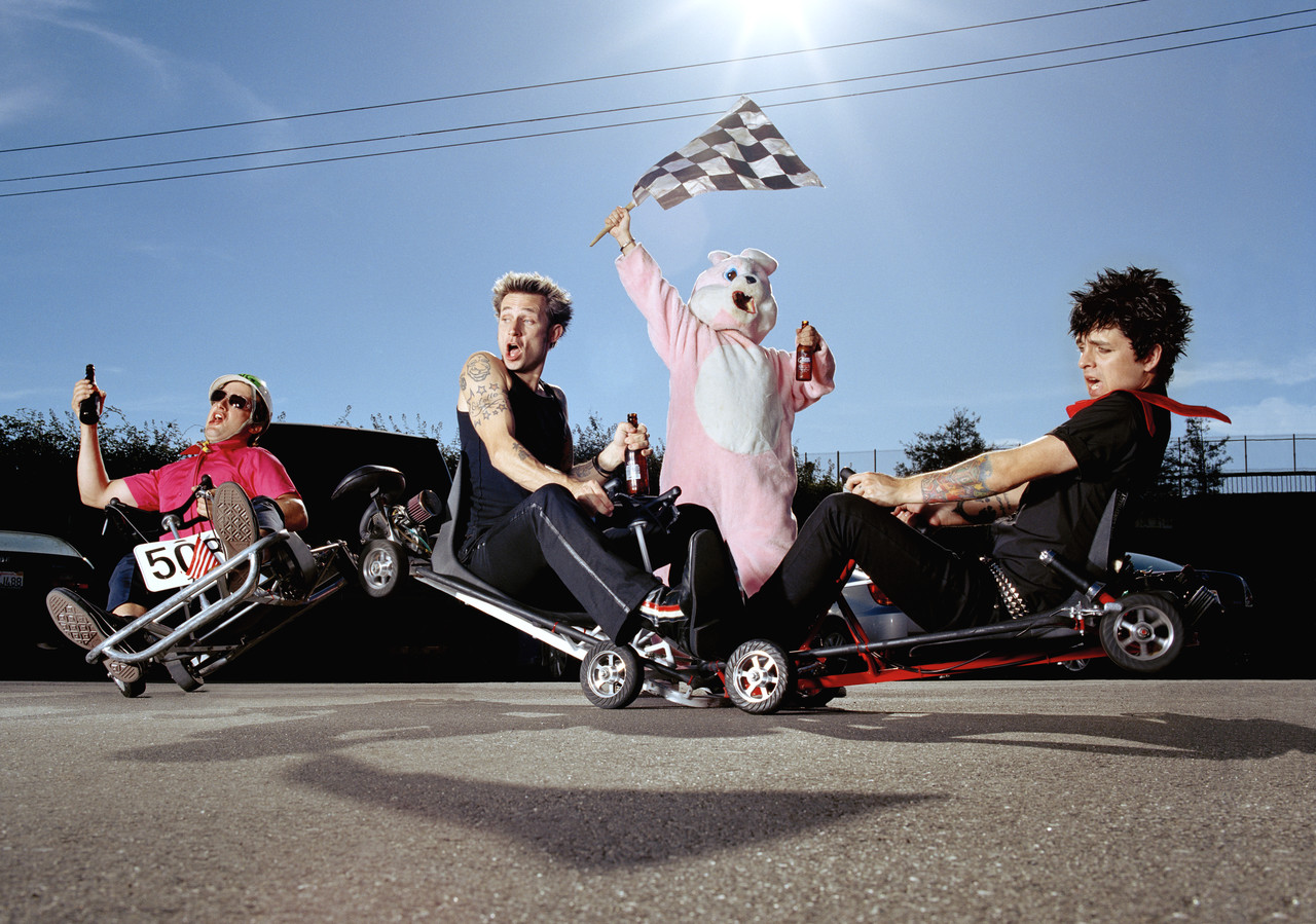 ca. 2004 --- Left to right are Tre Cool, Mike Dirnt, and Billie Joe Armstrong --- Image by © Matthias Clamer/CORBIS OUTLINE